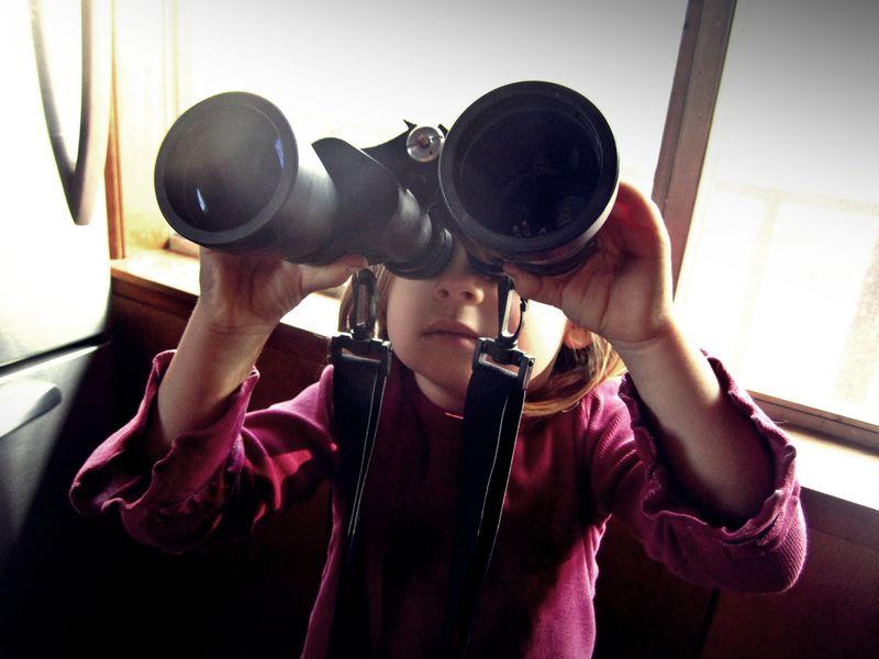 Binoculars on a little kid